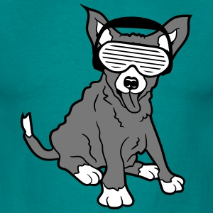 DJ party music headphones funky glasses dog T-Shirts - Men's T-Shirt