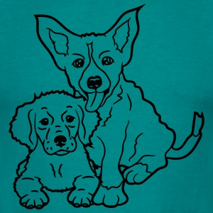 2 dogs brothers siblings grey friends sitting T-Shirts - Men's T-Shirt