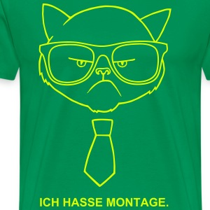 Grumpy Hipster cat with glasses T-Shirts - Men's Premium T-Shirt