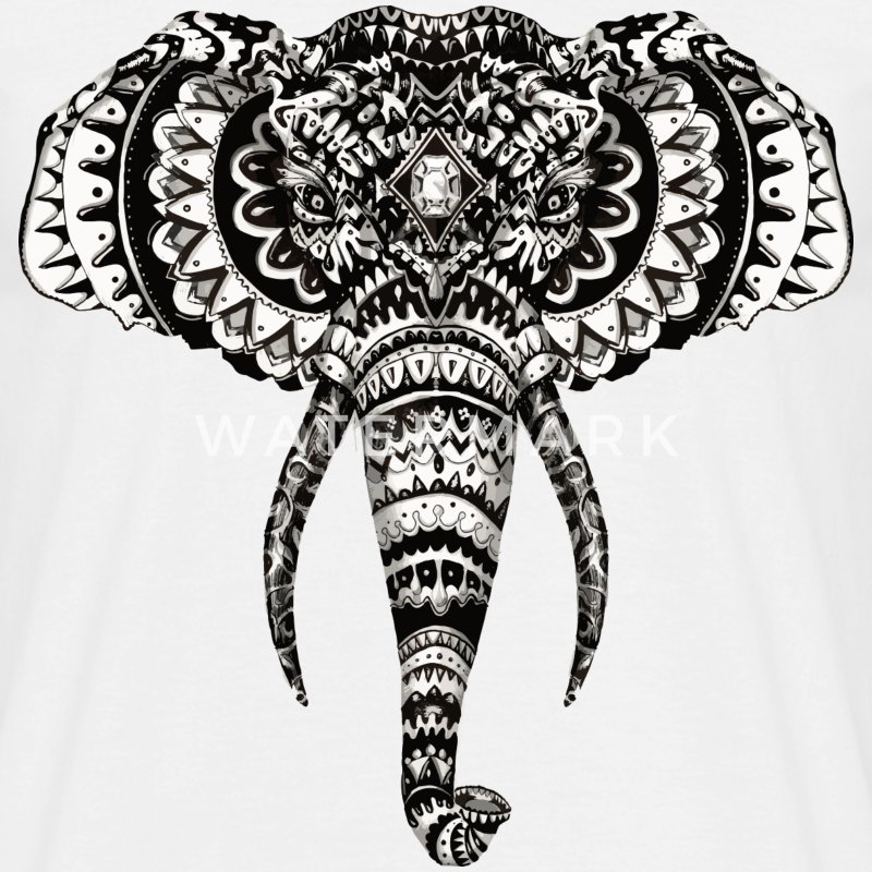 Éléphant Zentangle - T-shirt Homme