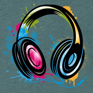 stylish Graffiti Headphones T-Shirts - Men's V-Neck T-Shirt