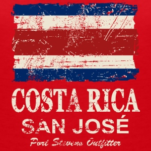 Costa Rca Flag - Vintage Look T-Shirts - Women's V-Neck T-Shirt