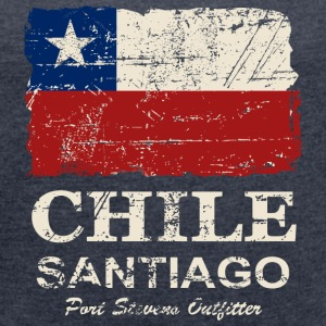 Chile Flag - Vintage Look T-Shirts - Women's T-shirt with rolled up sleeves