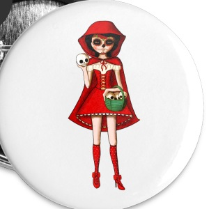Dia de Los Muertos Red Riding Hood Buttons - Buttons medium 32 mm