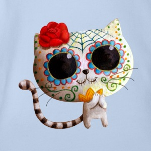 The Day of The Dead Cute White Cat Shirts - Organic Short-sleeved Baby Bodysuit