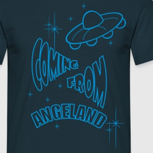 Coming From Angeland UFO (Front) - Light Blue logo - Men's T-Shirt