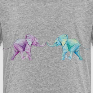 Two elephants - trunk to trunk (purple,turquoise) Shirts - Kids' Premium T-Shirt