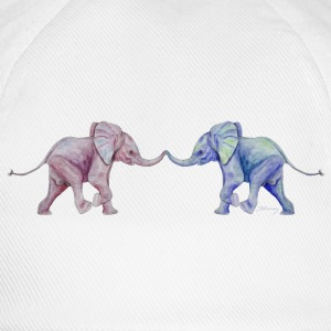 Two elephants - trunk to trunk (rose,blue) Caps & Hats - Baseball Cap