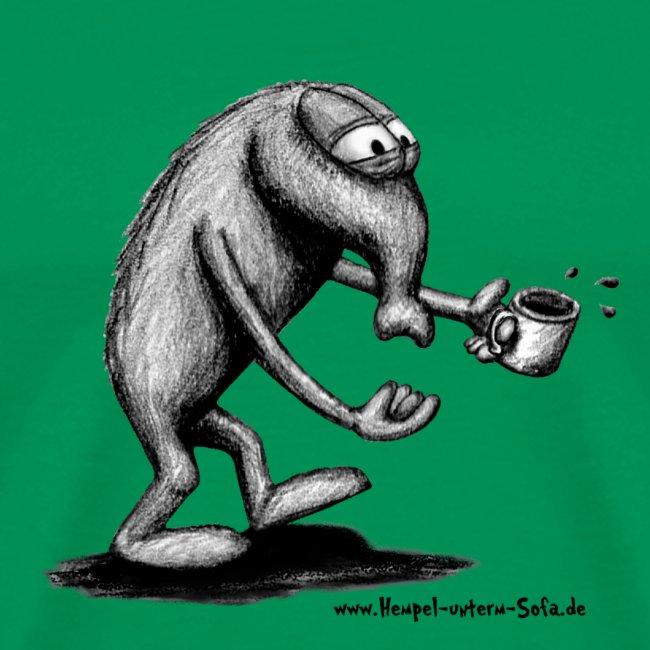T-Shirt, mit verschlafenem Hempel und Kaffeetasse