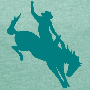 Rodeo Riding on a wild horse T-Shirts - Women's T-shirt with rolled up sleeves