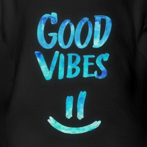 Good Vibes - Funny Smiley Statement / Happy Face Baby body - Baby bio-rompertje met korte mouwen