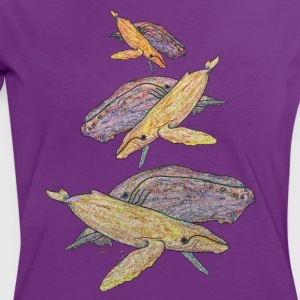 Humpback whales mixed colours T-Shirts - Women's Ringer T-Shirt