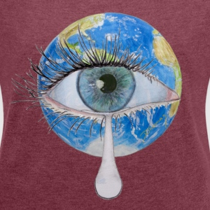 Planet earth crying Tee shirts - T-shirt Femme à manches retroussées