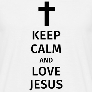 keep calm and love jesus T-skjorter - T-skjorte for menn