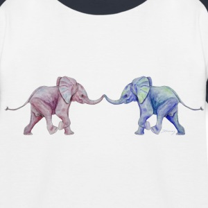 Two elephants - trunk to trunk (rose,blue) Shirts - Kids' Baseball T-Shirt