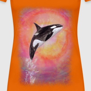 Springender Orca (orange-ohne Rand) T-Shirts - Frauen Premium T-Shirt