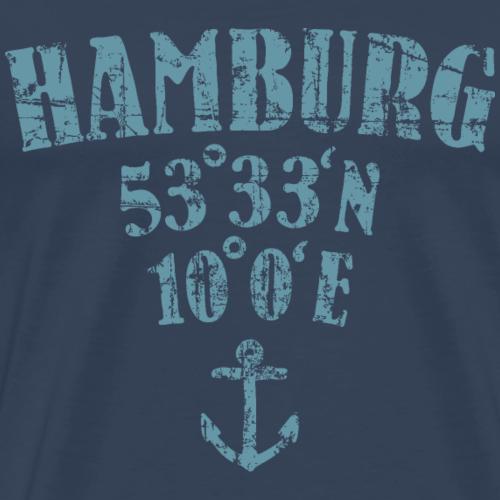 Hamburg Koordinaten (Vintage Hellblau)