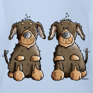 Two Dachshunds Shirts - Organic Short-sleeved Baby Bodysuit