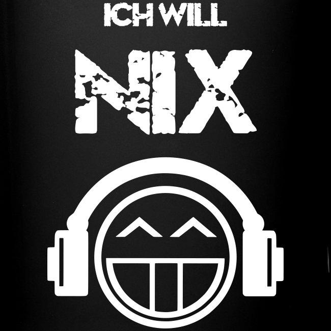 Die offizielle Friedrich Nix Tasse in schwarz - Ich will Nix!