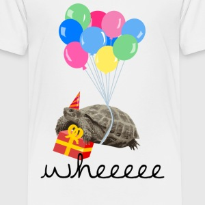 Hvid turtle with gift and balloon T-shirts - Børne premium T-shirt