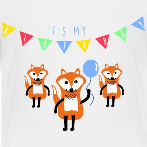 Hvit birthday_fox Skjorter - Premium T-skjorte for barn