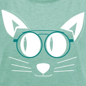 Cat with glasses T-Shirts - Women's T-shirt with rolled up sleeves