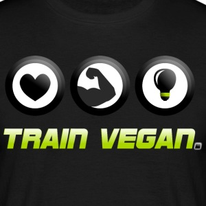 Train Vegan. Heart - Biceps - Brains T-Shirts - Männer T-Shirt