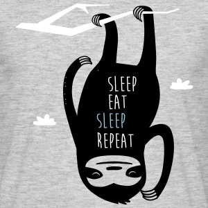 Grijs gespikkeld Sleep Eat Sleep Repeat Sloth T-shirts - Mannen T-shirt
