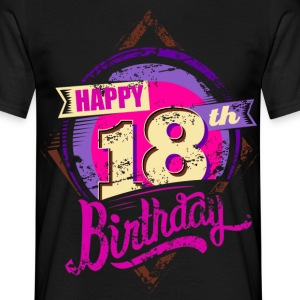 Happy 18th Birthday lila pink neon RAHMENLOS® - Männer T-Shirt