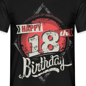 Happy 18th Birthday grey red neon RAHMENLOS® - Männer T-Shirt