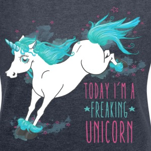 Navy meliert Today I´m a freaking unicorn T-Shirts - Frauen T-Shirt mit gerollten Ärmeln