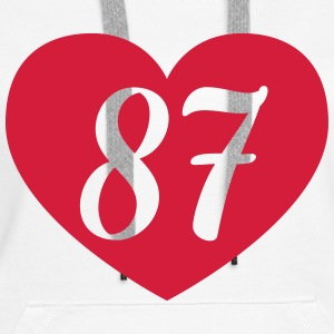 87th birthday heart Hoodies & Sweatshirts - Women's Premium Hoodie