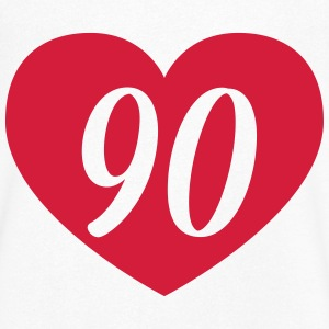 90th birthday heart T-Shirts - Men's V-Neck T-Shirt