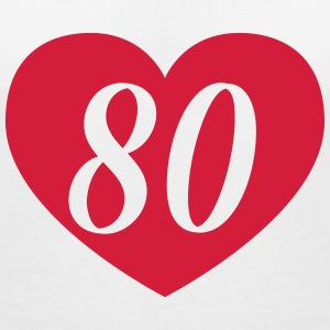 80th birthday heart T-Shirts - Women's V-Neck T-Shirt