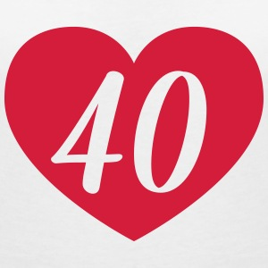 40th birthday heart T-Shirts - Women's V-Neck T-Shirt