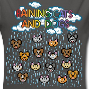 Gris graphite Raining cats and dogs Bodys Bébés - Body bébé bio manches longues