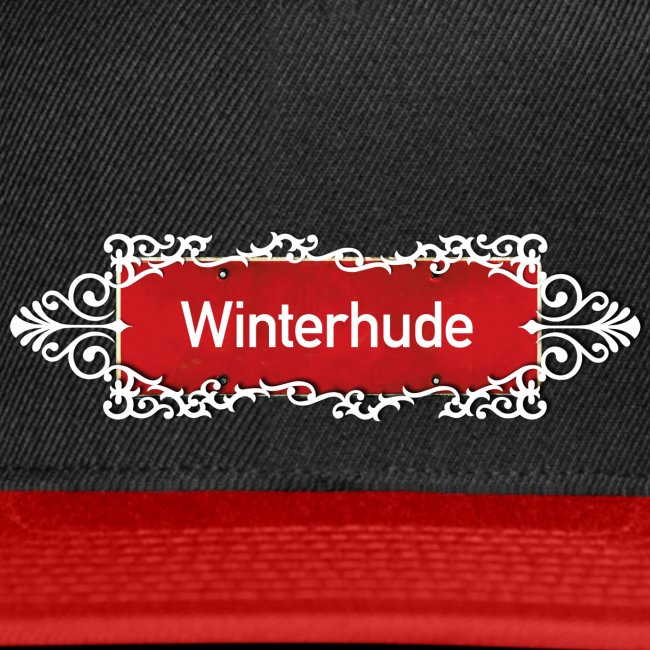 (Hamburg) -Winterhude Ortsschild mit Ornament, Kiez-Cap