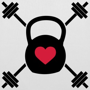Crossed Kettle Bell Heart Bags & Backpacks - Tote Bag