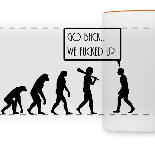 evolution on a mug