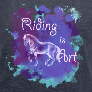 Riding is Art Purple Splash - Frauen T-Shirt mit gerollten Ärmeln