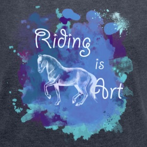 Riding is Art Blue Splash - Frauen T-Shirt mit gerollten Ärmeln
