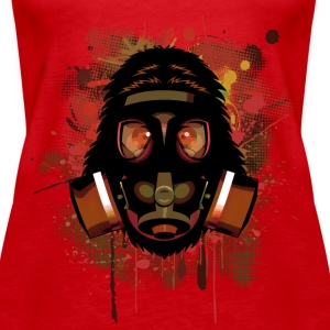 Urban Monkey with Gas mask Fallout Tops - Women's Premium Tank Top