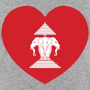 Laotian Erawan 3 Headed Elephant Heart Flag Shirts - Kids' Premium T-Shirt
