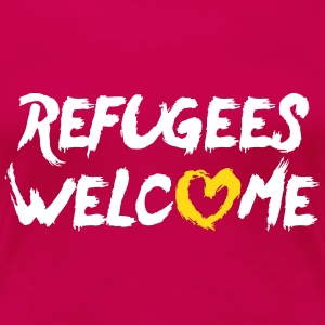 Refugees welcome + heart T-shirts - Dame premium T-shirt