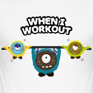 When I workout Monster T-Shirts - Men's Slim Fit T-Shirt
