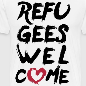 Refugees welcome + heart T-Shirts - Men's Premium T-Shirt