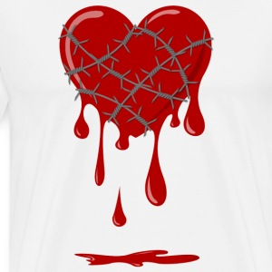 Bleeding Heart silbener barbed wire T-Shirts - Men's Premium T-Shirt