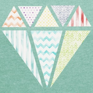 Colorful Diamond T-shirts - T-shirt med upprullade ärmar dam