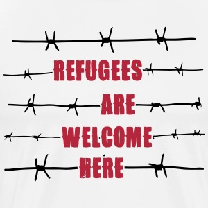 Refugees are welcome here T-shirts - Herre premium T-shirt