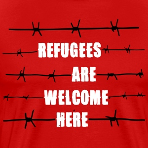 Refugees are welcome here T-shirts - Mannen Premium T-shirt